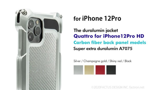 Photo1: Quattro for iPhone12Pro HD - Carbon fiber back panel models